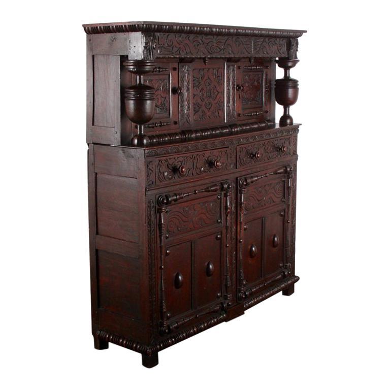 English Oak Court Cupboard For Sale