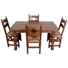English Oak Dining Table and 4 Chairs Country Arts & Crafts Rustic Rush Country