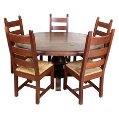 English Oak Dining Table and 5 Chairs Country Arts & Crafts Rustic Rush Country
