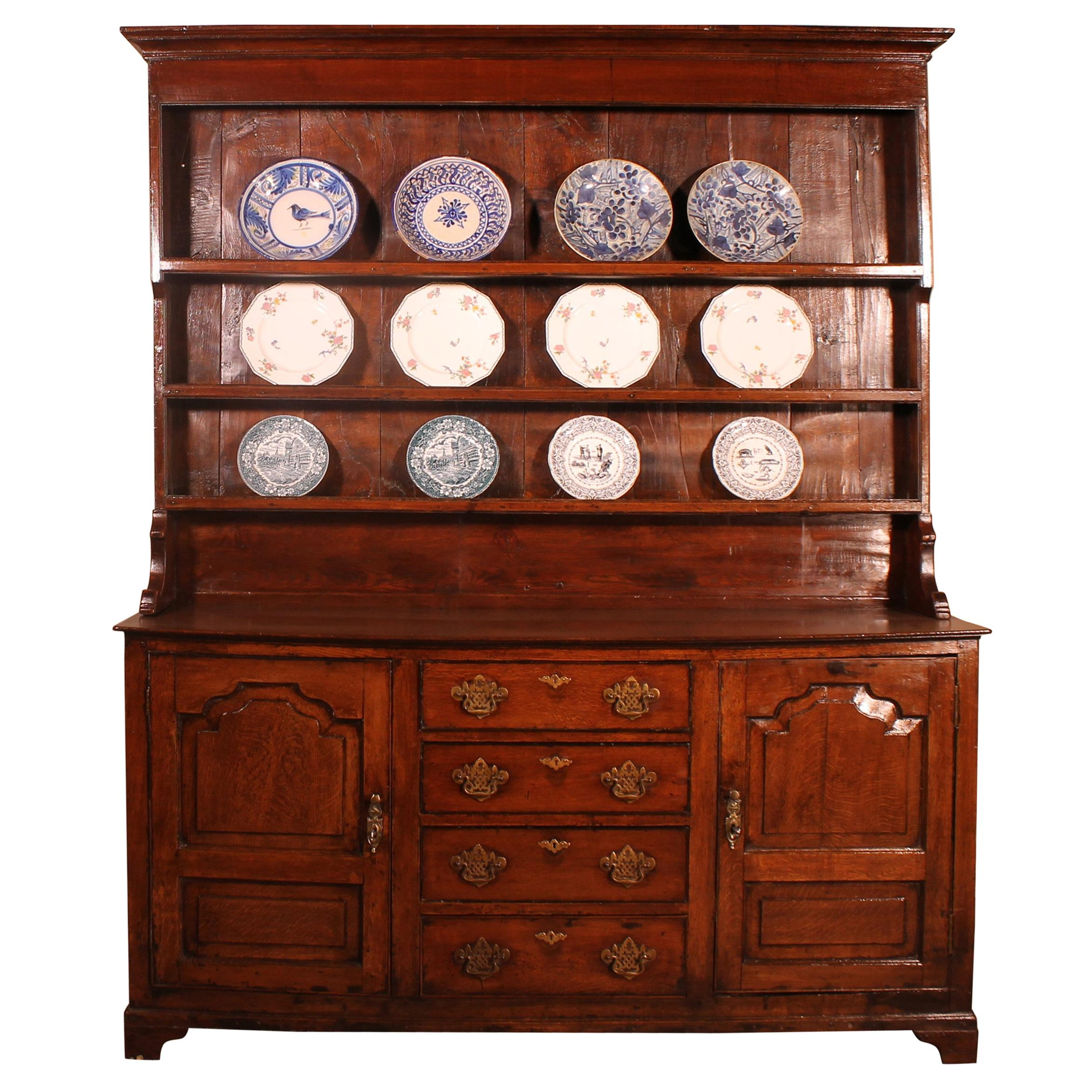 English Oak Dresser and Rack Early 18th Century