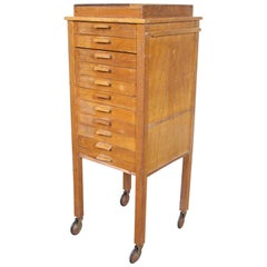 English Oak Filing Chest of Drawers Country Portable