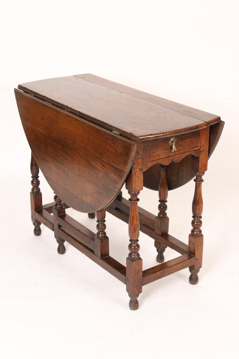 Country English Oak Gate Leg Table For Sale