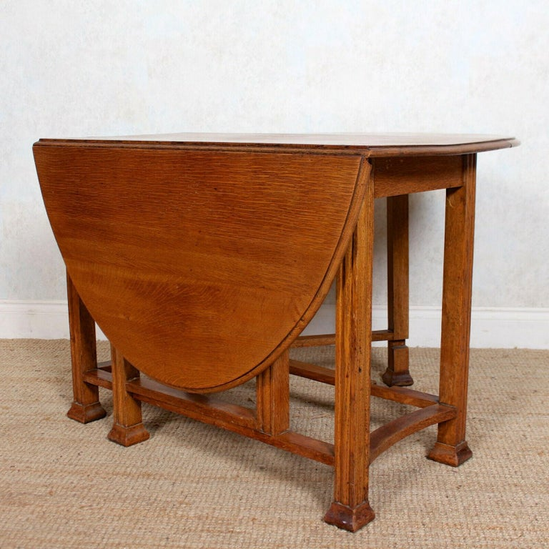 English Oak Gateleg Dining Table Carved Solid Folding Kitchen Table For Sale 6