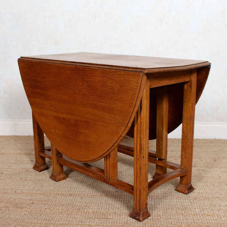 English Oak Gateleg Dining Table Carved Solid Folding Kitchen Table For Sale 7