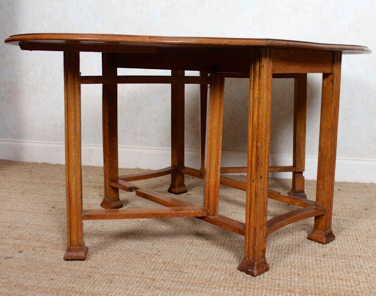 English Oak Gateleg Dining Table Carved Solid Folding Kitchen Table For Sale 8