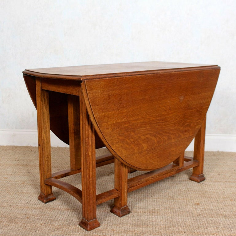 English Oak Gateleg Dining Table Carved Solid Folding Kitchen Table For Sale 1