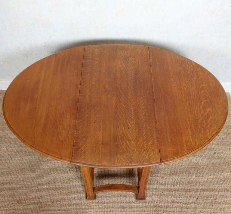 English Oak Gateleg Dining Table Carved Solid Folding Kitchen Table For Sale 2