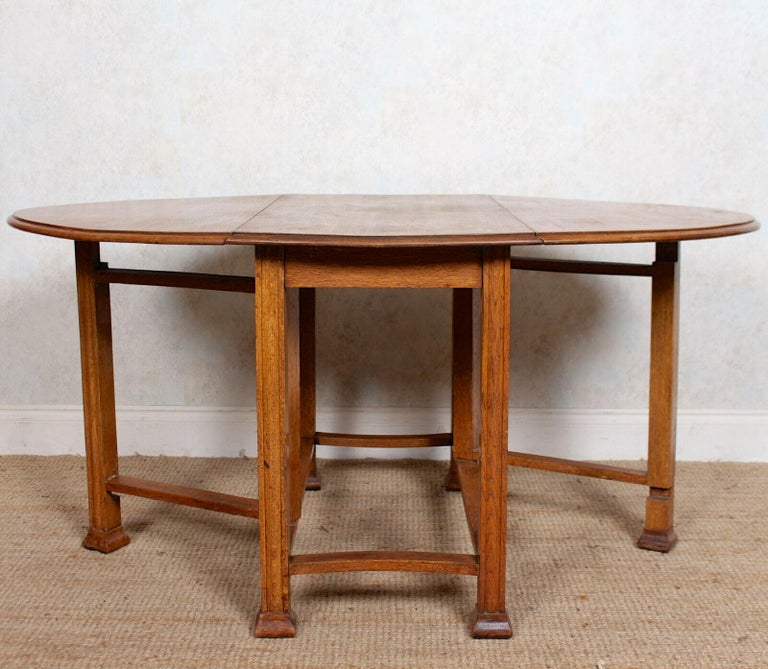 English Oak Gateleg Dining Table Carved Solid Folding Kitchen Table For Sale 4