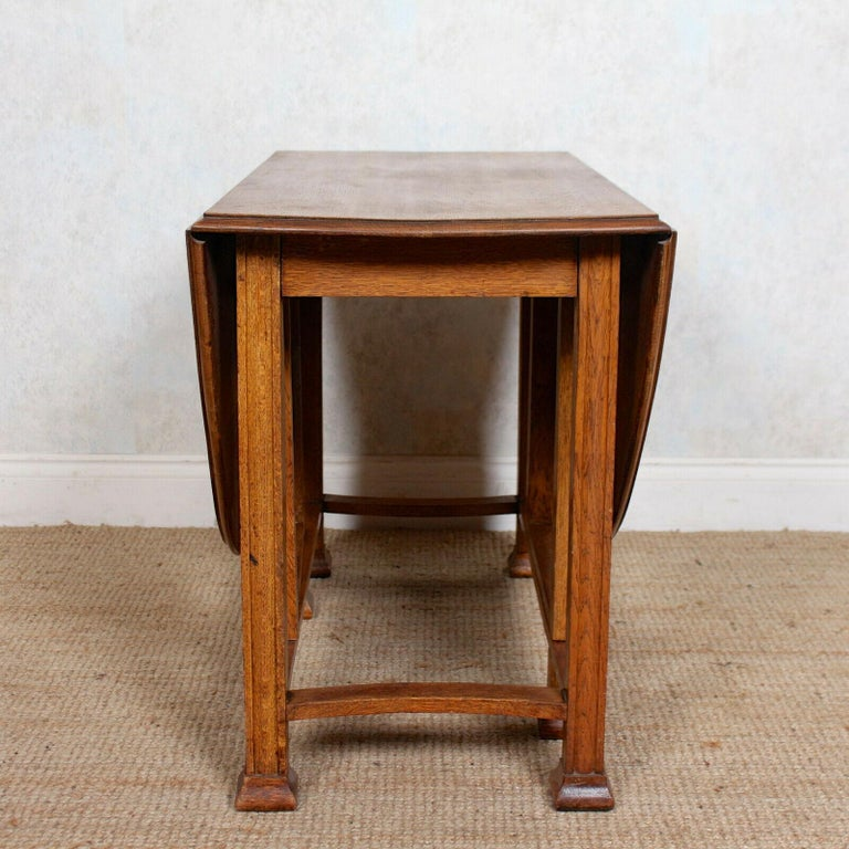 English Oak Gateleg Dining Table Carved Solid Folding Kitchen Table For Sale 5