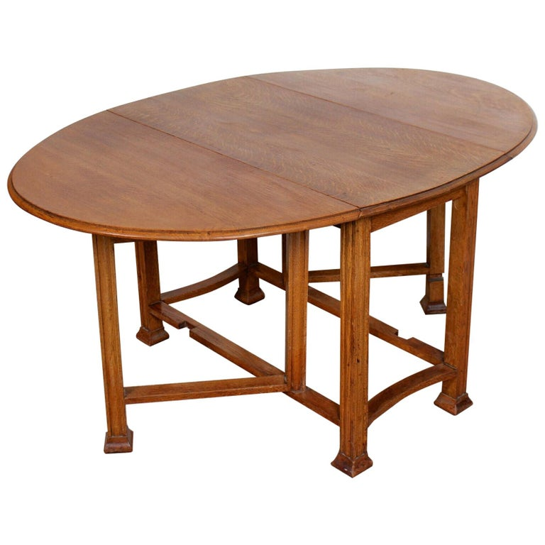 English Oak Gateleg Dining Table Carved Solid Folding Kitchen Table For Sale