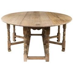 English Oak Gateleg Table with Eight Legs, circa 1900