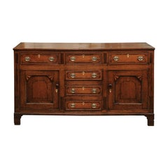 English Oak George III Inlaid Dresser Base, circa 1800