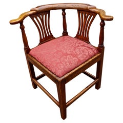 English Oak George III Period Corner Chair with Damask Upholstered Seat