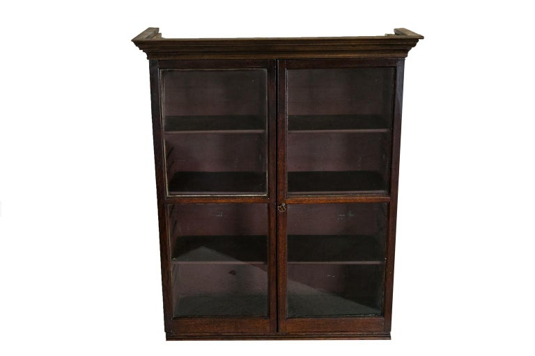 Early 19th Century English Oak Glass Front Hanging Cabinet For Sale