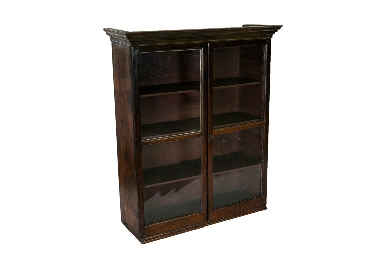 English Oak Glass Front Hanging Cabinet For Sale 3
