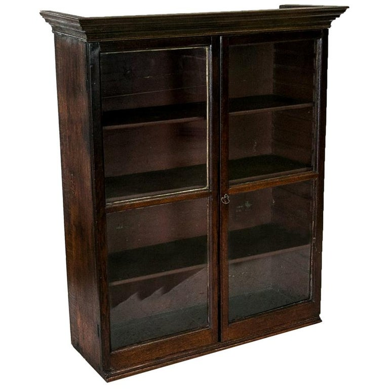 English Oak Glass Front Hanging Cabinet For Sale