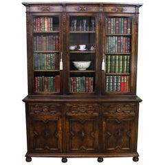 English Oak Glazed Bookcase