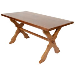 English Oak Gothic Refectory Table Trestle Dining Table