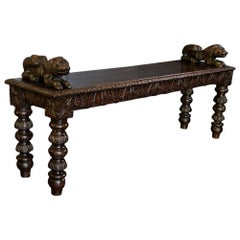 English Oak Hand Carved Bench Settle with Recumbent Carved Lions