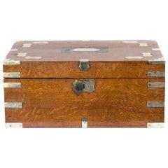 English Oak Inlaid Writing Box