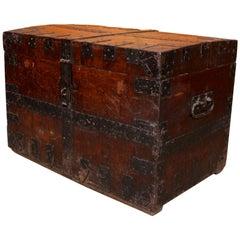 English Oak Iron Bound Silver Chest 19th Century Trunk Blanket Box
