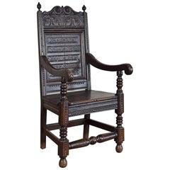English Jacobean Style Oak Wainscot Armchair
