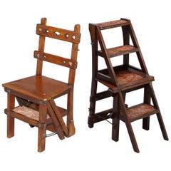 English Oak Library Chair Metamorphic Steps circa 1890 Arts & Crafts Carpet Line