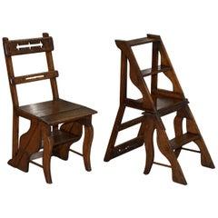 English Oak Library Chair Metamorphic Steps circa 1890 Arts & Crafts Handmade