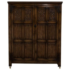 English Oak Linen Fold Cupboard, 1880