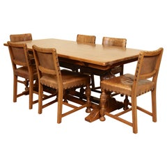 English Oak Refectory Dining Table and 6 Chairs Tan Leather