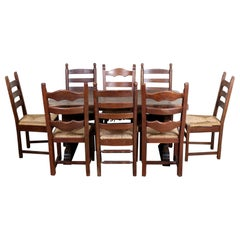 English Oak Refectory Dining Table and 8 Chairs Country Arts & Crafts Rustic