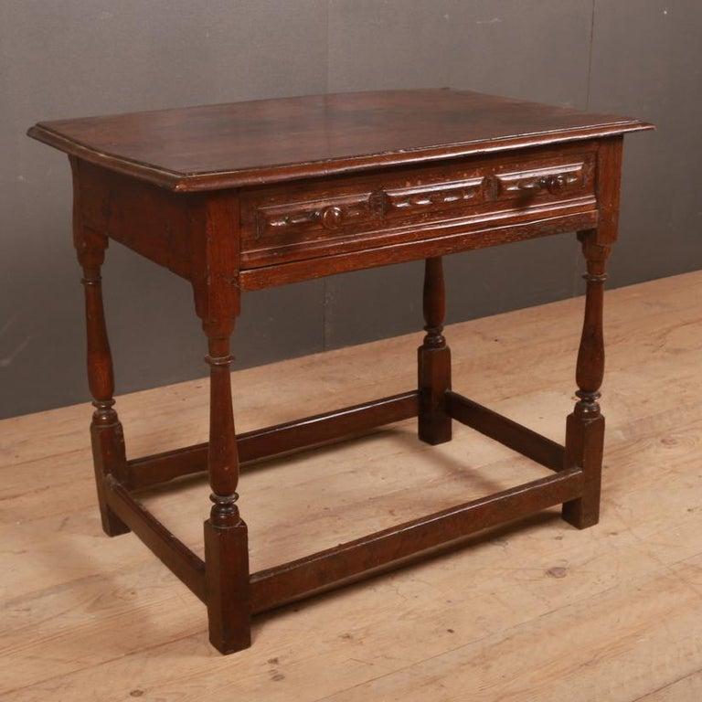 Polished English Oak Side Table For Sale