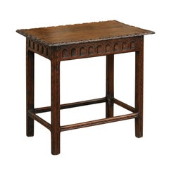 English Oak Side Table with Carved Edges and Scoop Patterns, circa 1880