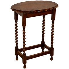 English Oak Side Table with Oval Top, circa 1900