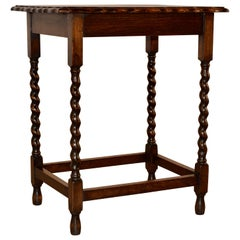 English Oak Side Table with Scalloped Edge, circa 1900