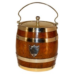 English Oak Silver Plated Biscuit Barrel, circa 1900