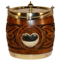 English Oak Silver Plated Biscuit Barrel