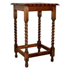 English Oak Square Side Table, circa 1900