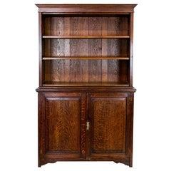 English Oak Stepback Bookcase