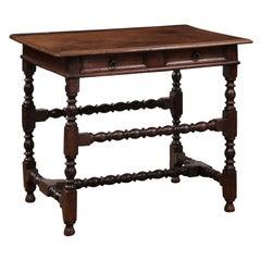 English Oak Turned Leg Side Table