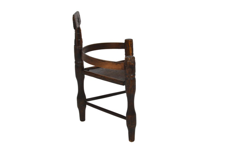 18th Century and Earlier English Oak Turners' Chair, circa 1797 For Sale