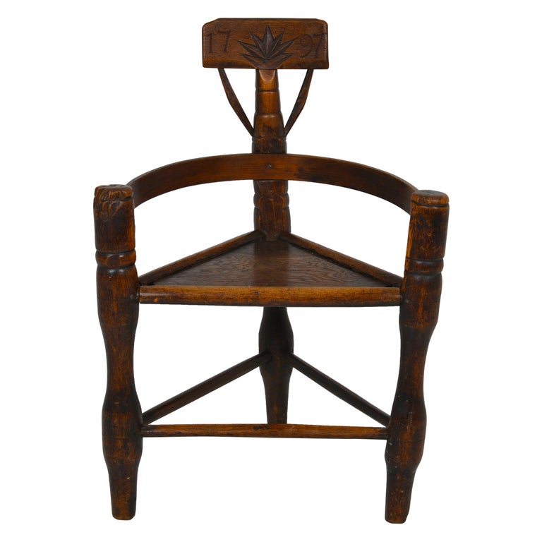 English Oak Turners' Chair, circa 1797 For Sale