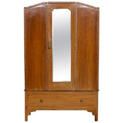 English Oak Wardrobe Mirrored Armoire