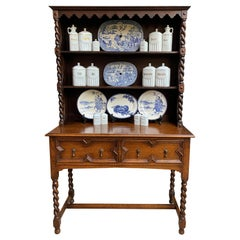English Oak Welsh Dresser Sideboard Hutch Barley Twist Jacobean Farmhouse, 1930s