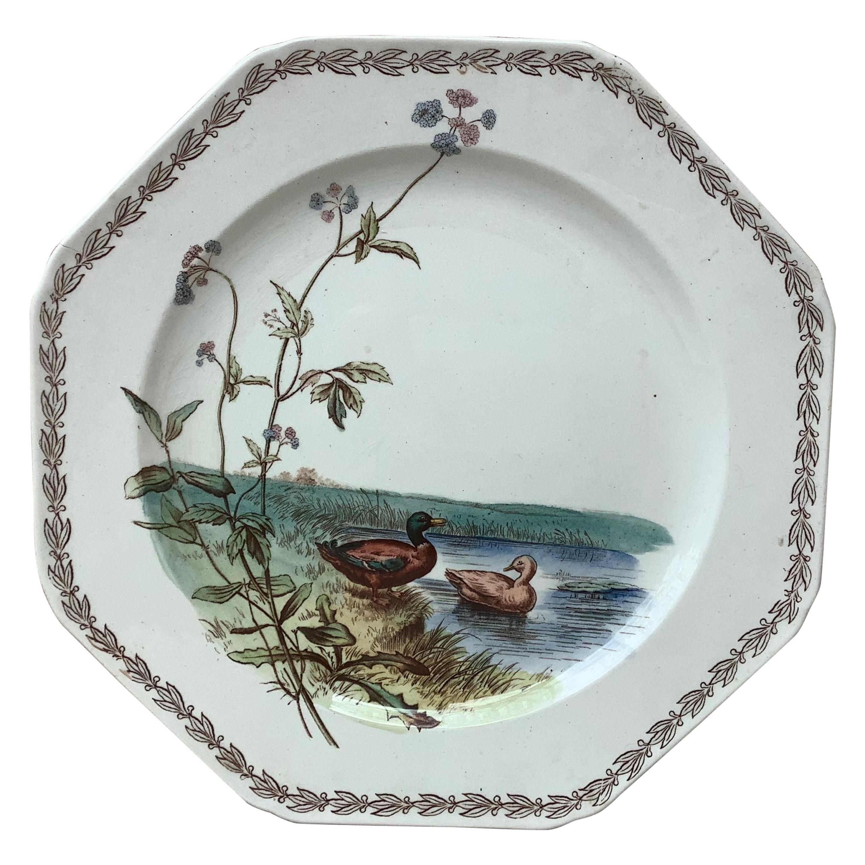 English Octagonal Plate Ducks on Lake Brown Westhead and Moore, circa 1890