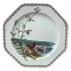 English Octagonal Plate Ducks on Lake Brown Westhead and Moore, circa 1890