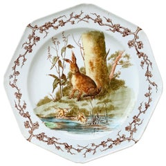 English Octagonal Plate Hare and Frogs Westhead and Moore, circa 1890