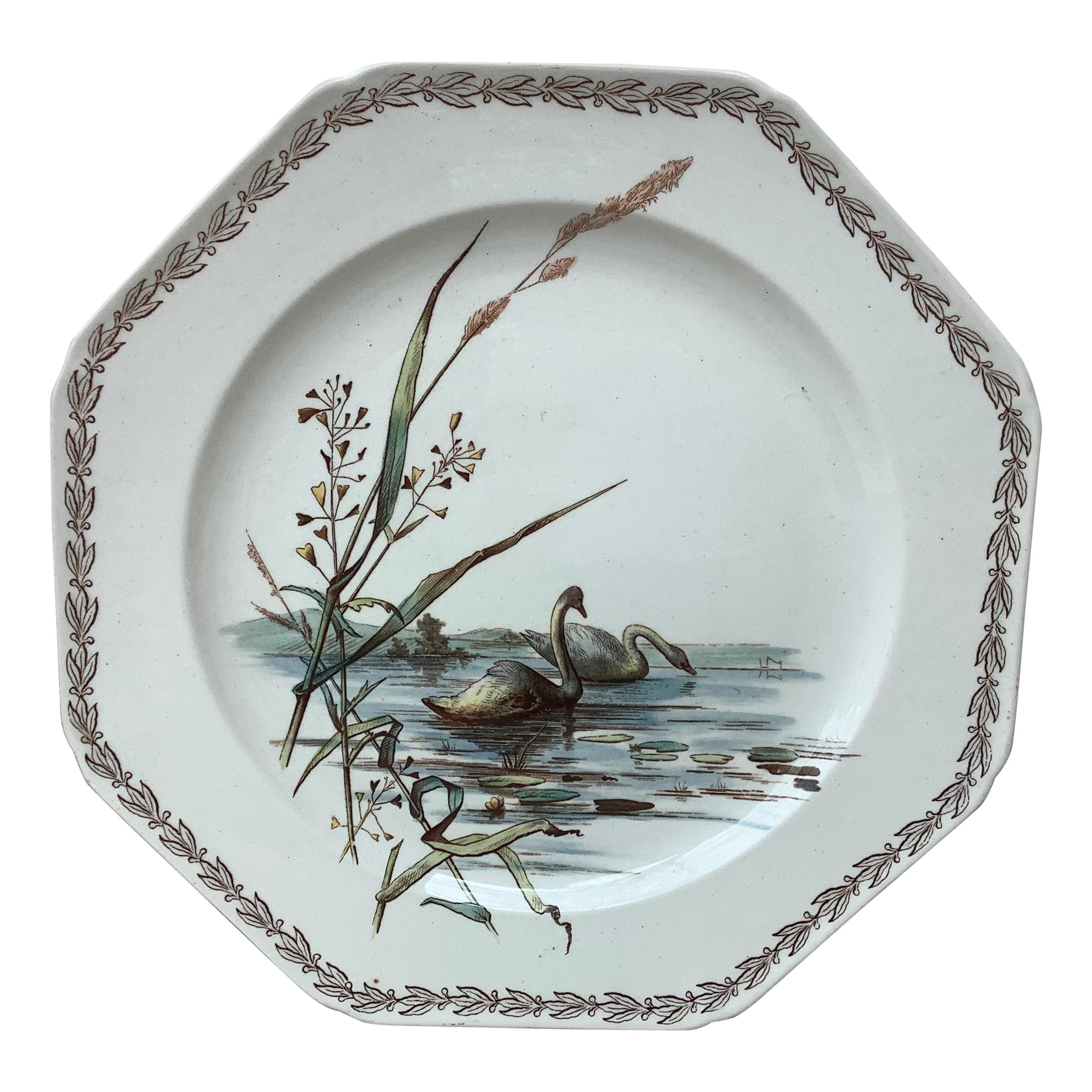 English Octagonal Plate Swans on Lake Brown Westhead and Moore, circa 1890