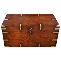 English Officer Victorian Brass Bound Campaign Military Chest, circa 1860
