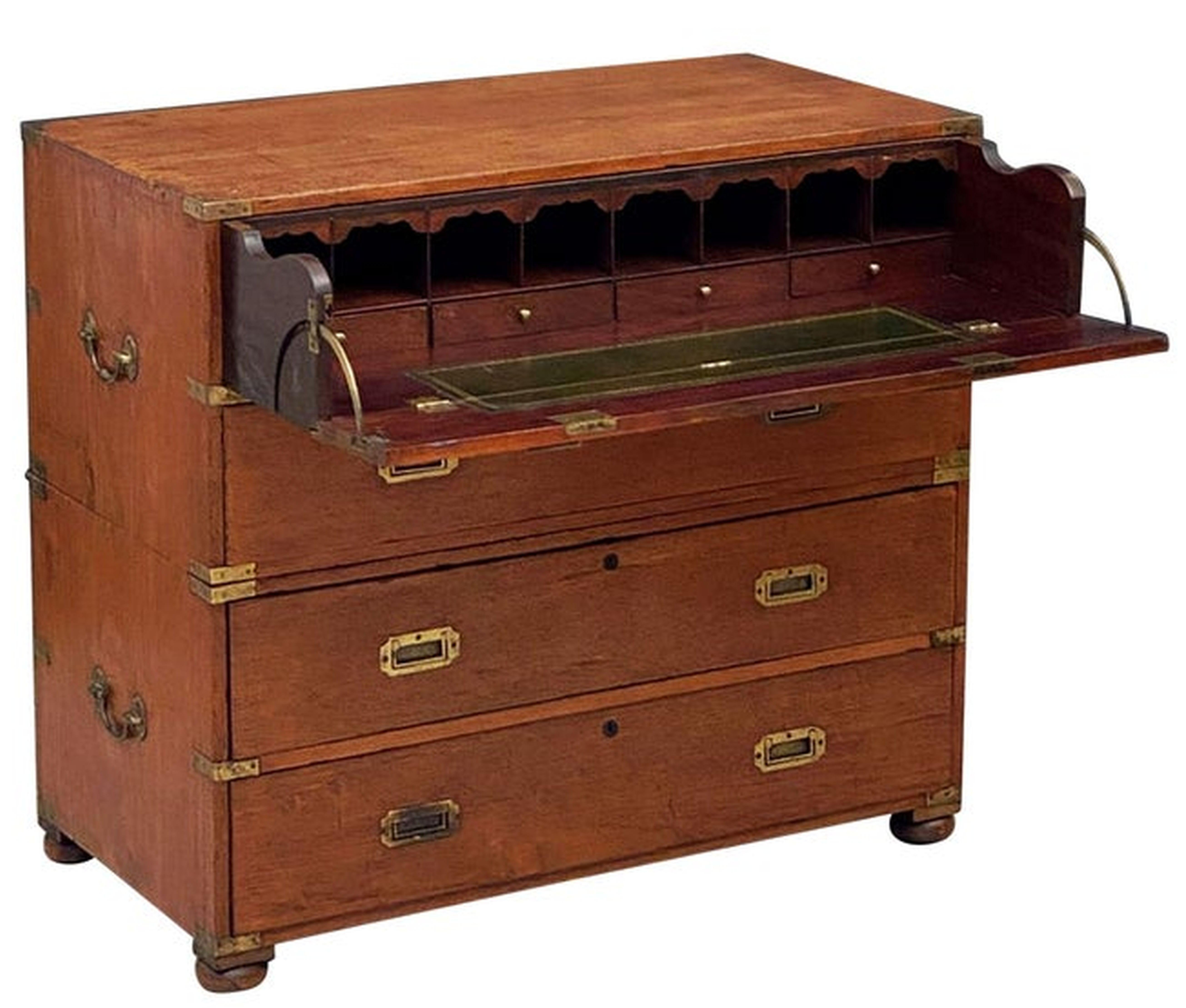 English Officer's Campaign Chest Secretaire of Teak and Brass